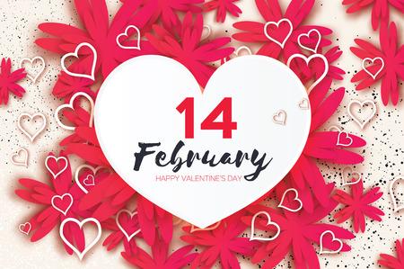 Rosa Happy Valentinstag Grußkarte. Papier geschnittene Blume