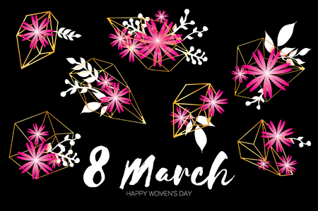 pape: Happy Mothers Day. Pape flower. 8 March. Geometric Cristal frame Illustration