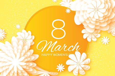 Yellow Paper Cut Flower. 8 March. Origami Womens Day. Circle Frame. Space for text