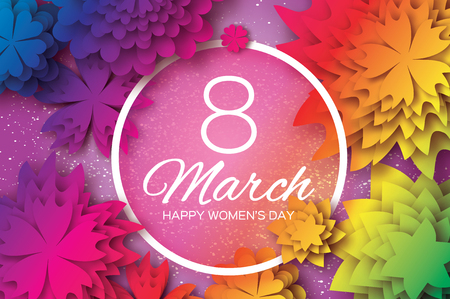 layered sphere: Colorful Paper Cut Flower. 8 March. Womens Day Greeting card. Origami Floral bouquet. Circle frame. Space for text on pink background.Happy Mothers Day. Vector Spring illustration