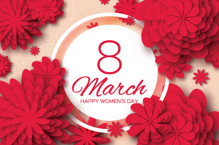 layered sphere: Red Paper Cut Flower. 8 March. Womens Day Greeting card. Origami Floral bouquet. Circle frame. Space for text on pink background. Happy Mothers Day. Vector Spring illustration