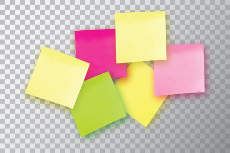 tack: 6 Colorful sticky note. Template for your projects. Six Sticker isolated on transparent background. Vector illustration.