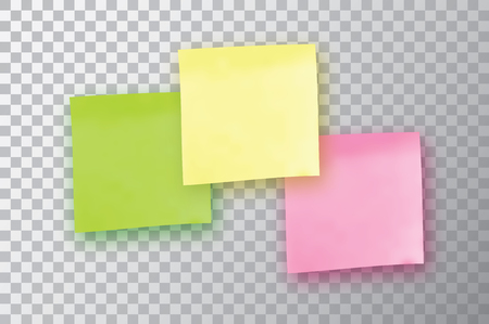 tack: 3 Colorful sticky note. Template for your projects. Three Sticker