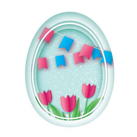 Happy Easter. Paper cut Easter Egg, Pink Tulip Flower. Flag. Origami Oval frame