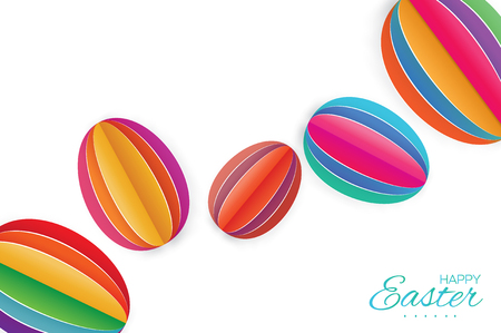 greating card: Happy Easter Greating card. 7 Colorful Paper cut Easter Egg. White background.