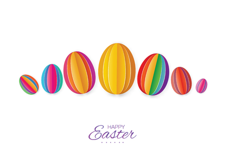 Happy Easter Greating card. Colorful Paper cut Easter Egg. White background. Illustration