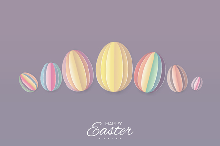 greating card: Happy Easter Greating card. 7 Pastel Paper cut Easter Egg. Purple background.