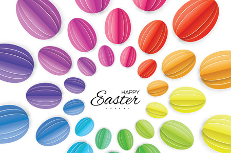 title emotions: Happy Easter Greating card. Colorful Paper cut Easter Egg. White background. Illustration