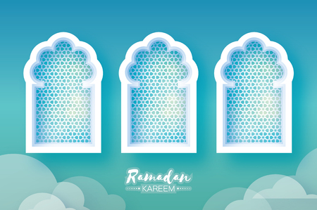 crescent: Ramadan Kareem. Three 3 Origami Mosque Window. Holy month. Paper cut Cloud. Space for text Illustration