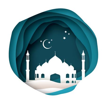 アラビア語白折り紙モスクとラマダン カリームのグリーティング カード。イスラム教の神聖な月。三日月。