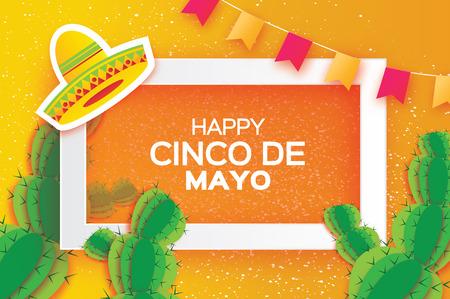 Cartolina d'auguri arancione felice Cinco de Mayo. Origami cappello sombrero messicano, succulente, bandiere. Quadrato quadrato Vettoriali