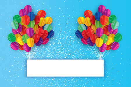 Colorful Flying Paper cut balloons. Happy Birthday Greeting card. Origami Rectangle frame - space for text. Illustration