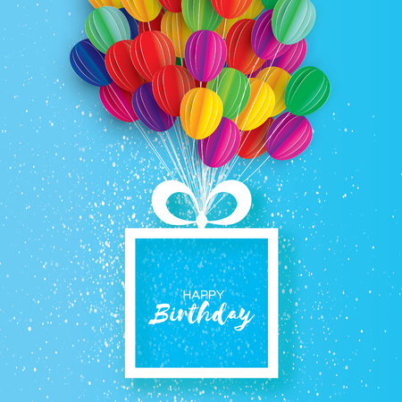 Colorful Flying Paper cut balloons. Happy Birthday Greeting card. Origami Gift box. Space for text. Square frame.