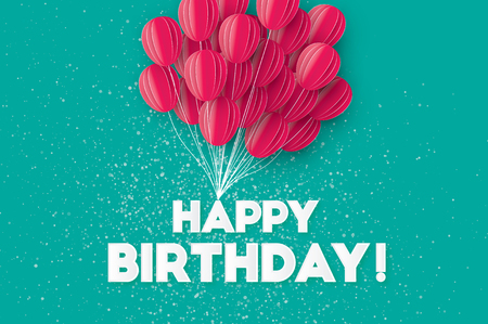 Pink Flying Paper cut balloons. Happy Birthday Greeting card