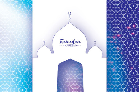 crescent: Ramadan Kareem Greeting card. Paper cut Mosque. Space for text.