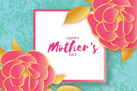 Mothers Day Greeting card. Womens Day. Paper cut pink gold Peony flower. Origami Beautiful bouquet. Square frame. text.