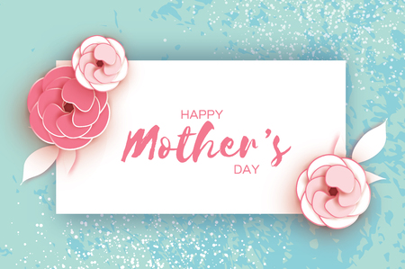 Happy Mothers Day Greeting card. Pink Pastel Paper cut Flower. Rectangle Frame. Space for text.