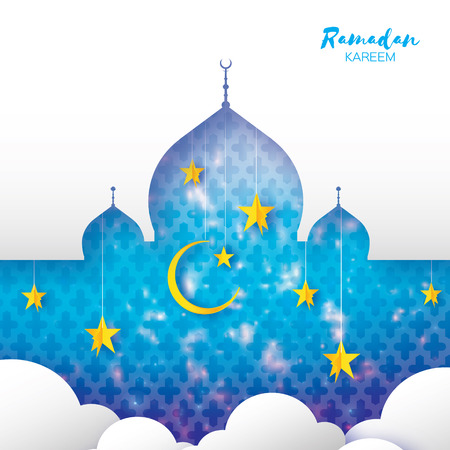 Ramadan Kareem Greeting card. Arabic window Mosque, clouds, gold stars. Paper cut style. Arabesque pattern. Crescent Moon. Illustration
