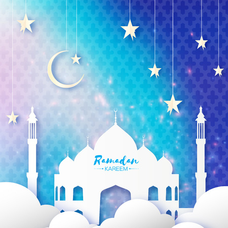 Blue Ramadan Kareem Greeting card.. Arabic window Mosque, clouds, white stars. Paper cut style. Arabesque pattern. Origami Crescent Moon. Vector