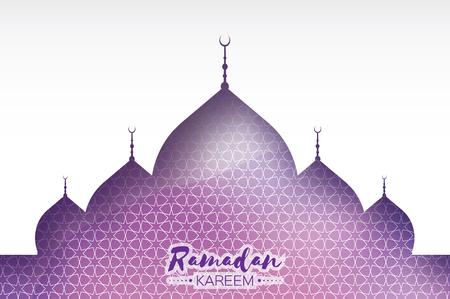 Purple Ramadan Kareem Greeting card, Arabic Mosque.