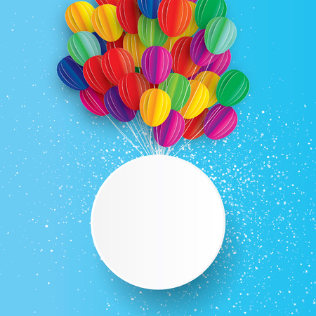 Flying Paper art cut balloons. Circle frame for text.