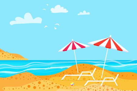 하계. 해변에서 파라솔입니다. 휴식. 물 해변 휴가입니다.