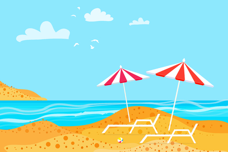 Summertime. Parasols on the beach. Rest. Water beach vacation.