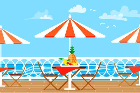 Restaurant Patio. Picnic. Chairs, table and umbrella on terrace balcony. Sea landscape. Illustration