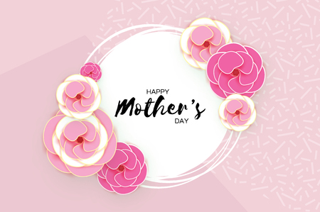 Happy Mothers Day Greeting card. Pink Pastel Paper cut Flower. Circle Frame. Space for text.