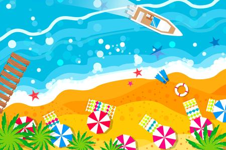 flippers: Vista superior yate de motor. Descanso en la playa. Vacaciones. Vacaciones de verano. Tiempo para viajar.