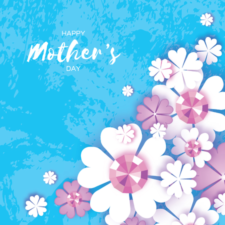 Happy Mothers Day. White Floral Greeting card with Brilliant stones.