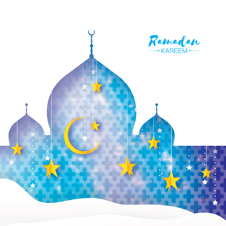 Ramadan Kareem Greeting card.. Arabic window Mosque, desert, gold stars. Paper cut style. Arabesque pattern. Crescent Moon. .
