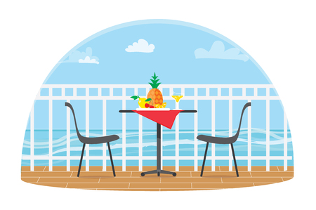 Chairs and Table on the terrace balcony in the restaurant View over the sea. Illustration