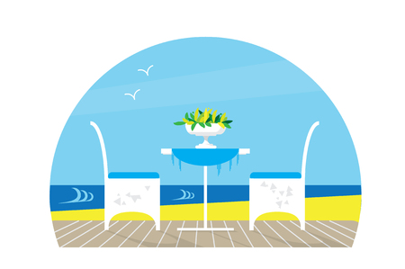 Chairs and Table on the terrace balcony in the restaurant View over the sea. Water landscape. Vase with flower. Flat vector
