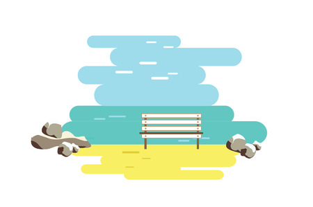 Sunset beach and bench. Flat vector