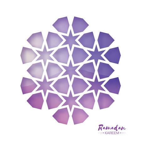 Ramadan Kareem Greeting card . Purple Origami Arabesque Mosque Window. Arabic Ornamental pattern in paper cut style.Holy month of muslim.