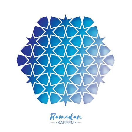 Ramadan Kareem Greeting card .Blue Origami Arabesque Mosque Window.