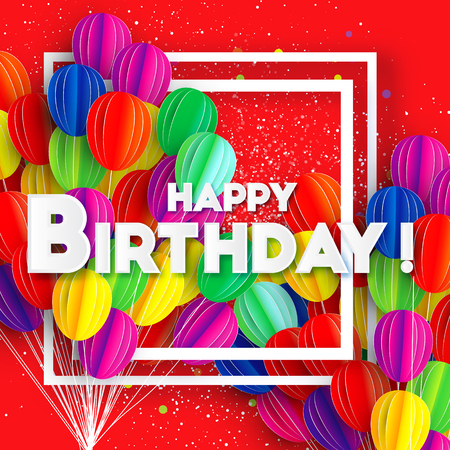 Flying Paper cut balloons. Colorful decoration for party, celebration, banner, card, gift. Rainbow Happy Birthday Greeting card. Space for text. Square frame. Red background. Vector Illustration