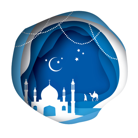 Ramadan Kareem Greeting card with arabic White Origami Mosque. Blue Paper cut Desert Cave Landscape.