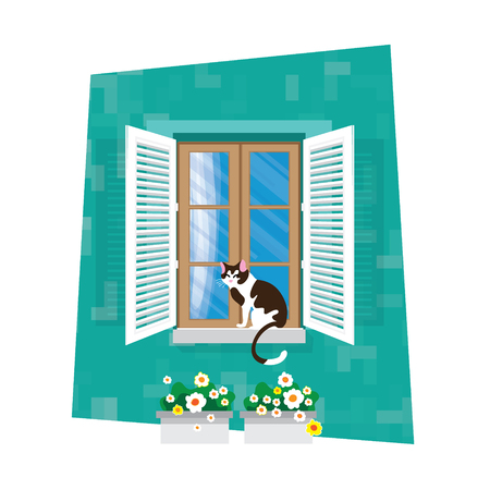 Elements of architecture - window. Flat style. For interior and exterior use. Curtain.Flower. CatbVector