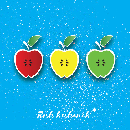 Jewish New Year, Rosh Hashanah. Apple Paper cut style. Holiday. Vector