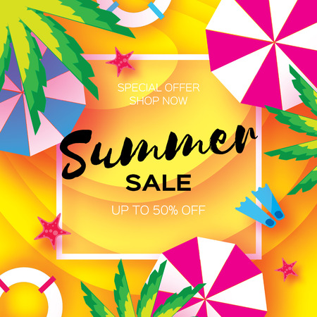 layered: Summer Sale Template banner. Beach rest. Summer vacantion. Top view on colorful beach elements. Square frame with space for text. Paper art style. Vector