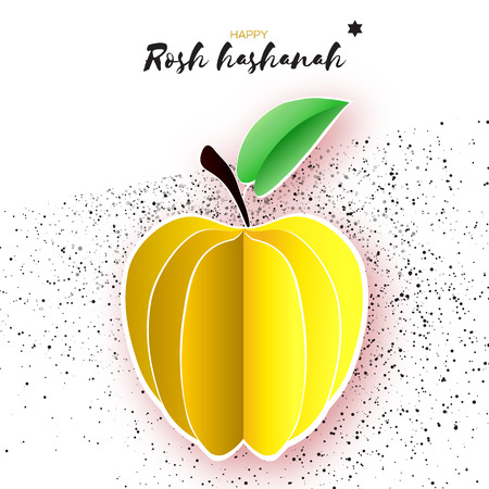 layered: Jewish New Year, Rosh Hashanah. Yellow Apple with leaf in Paper cut style. Holiday. Vector