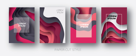 Paper Cut Wave Shapes. Layered curve Origami design for business presentations, flyers, posters. Set of 4 vertical banners. 3D abstract map carving. Text. Frame. Pink. Grey.