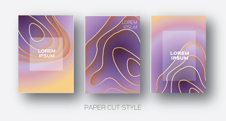 Paper Cut Wave Shapes. Layered curve Origami design for business presentations, flyers, posters. Set of 3 vertical banners. 3D abstract map carving. Text. Frame. Orange. purple. Vector