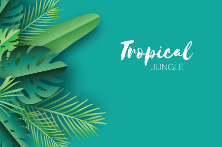 Trendy Summer Tropical palm leaves, plants. Paper cut style. Exotic Hawaiian summertime. Space for text. Beautiful dark green jungle floral background.Monstera, palm. Vector
