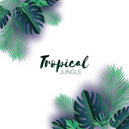 areca: Trendy Summer Tropical palm leaves and plants in paper cut style. Origami Exotic Hawaiian summertime. Space for text. Beautiful dark green jungle floral background. Monstera, palm. Vector illustration Illustration