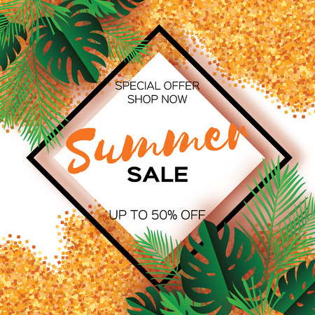 Tropical palm leaves, plants. Trendy Summer Sale Template banner. Paper cut art Exotic. Hawaiian. Text. Rhombus frame. Green jungle floral background with gold glitter. Monstera. Vector