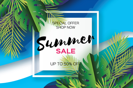 areca: Trendy Summer Sale Template banner. Paper cut art Tropical palm leaves, plants. Exotic. Hawaiian. Space for text. Square frame. Dark green jungle floral background. Monstera, palm. Vector