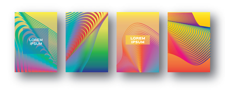 Set of 4 Trendy Colorful Gradient Future Geometric Shapes Covers template. Minimal design geometry halftone design for banners, flyers, invitation, posters, brochure, voucher discount. Vector